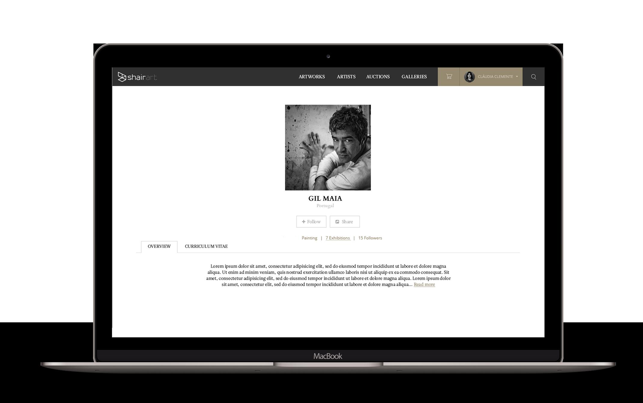artist profile on macbook